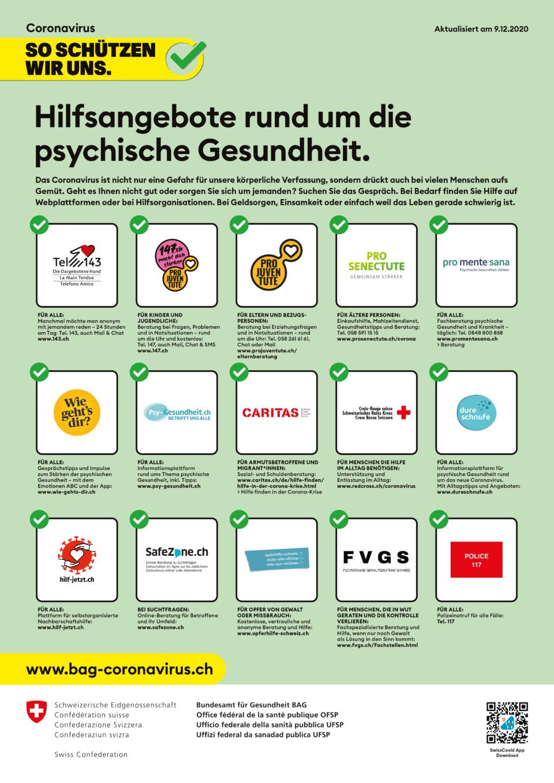 Plakat Hilfsangebote rund um die psychische Gesundheit