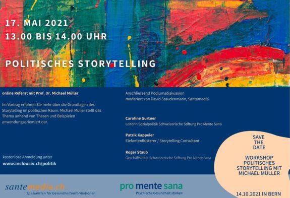 Flyer online Referat zu politisches Storytelling
